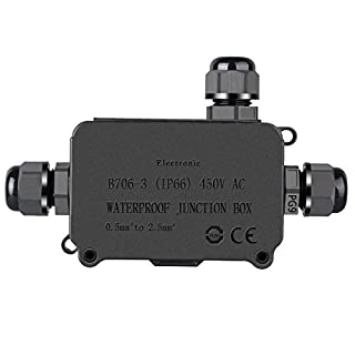 COOLWEST IP66 Waterproof Outdoor 3 Cable PG9 Black Plastic Connector Gland Electrical Junction Box