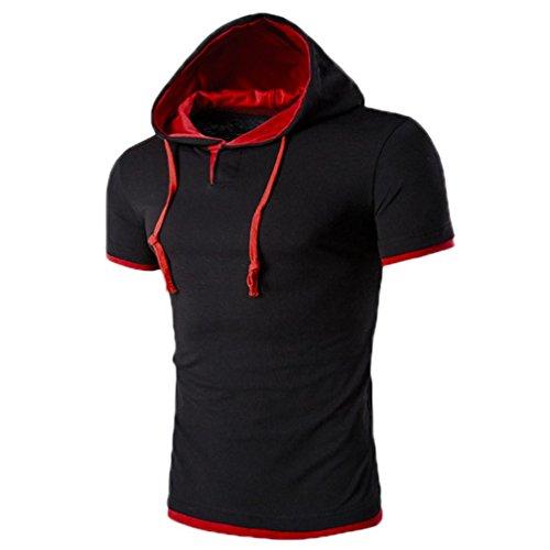 Ansenesna 8 Farben Mode Herren Junge Sommer Kurzarm Kapuzenpullover Hoodie Freizeit Sport Komfortable T-Shirt M~5XL (Rot, M) (Tan-jungen Shirt)
