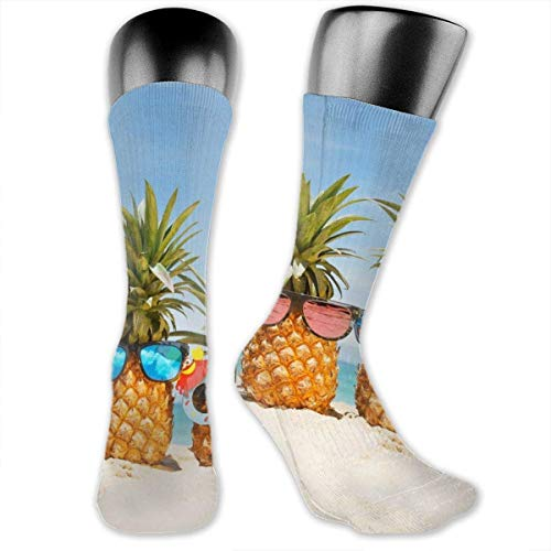 Pineapples with Sunglasses Compression Socks Crew Socks Women & Men-Best Athletic & Medical Running Flight Travel Pregnant Yellow Socks