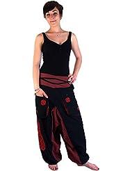 Haremshose Pluderhose Pumphose Aladinhose Spirale - schwarz rot / Pluderhosen und Aladinhosen