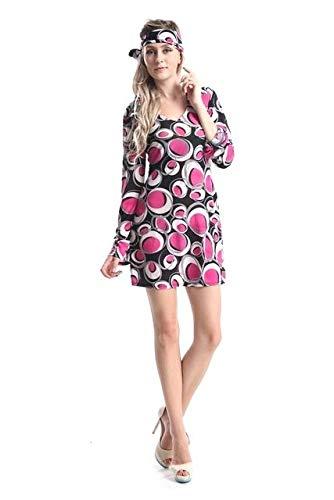 Emmas Garderobe 70er Jahre Kostüm für Retro Partei - Seventies-Wirbels-Kleid in UK Größe 6-14 (Women: 38, Pink)