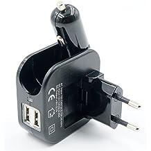 Refoss Doble Puerto de USB Múltiple Cargador coche con Plegable AC cargador de pared para móviles con adaptador (Negro)