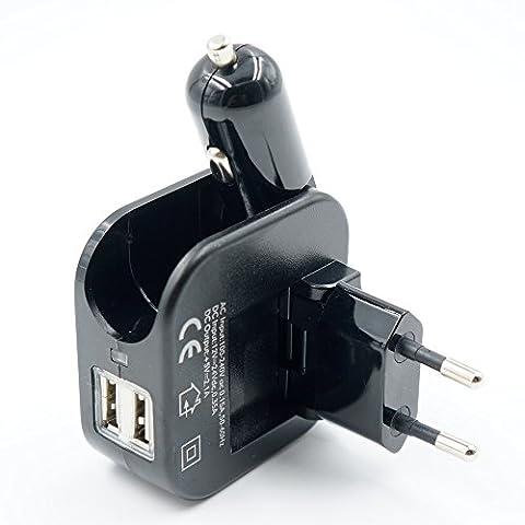 Refoss Téléphone Portable Chargeur de Voiture avec 2-port USB Multiples Comprenant Chargeur Adaptateur Pilant Puissance pour la Maison AC