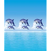 """180 x 200 cm poliéster papillón """"de delfines"""" cortina para baño, azul"""