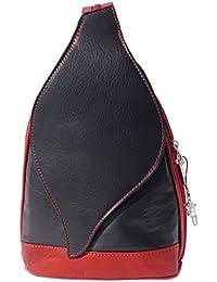 SilberDream - Bolso mochila  de Piel para mujer negro negro/rojo