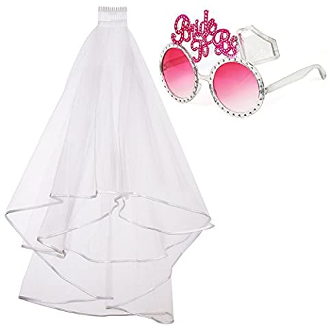 iLoveCos Bride To Be Sunglasses Veil Hen Party Accessories Bridal Wedding Veil with Comb 2pcs