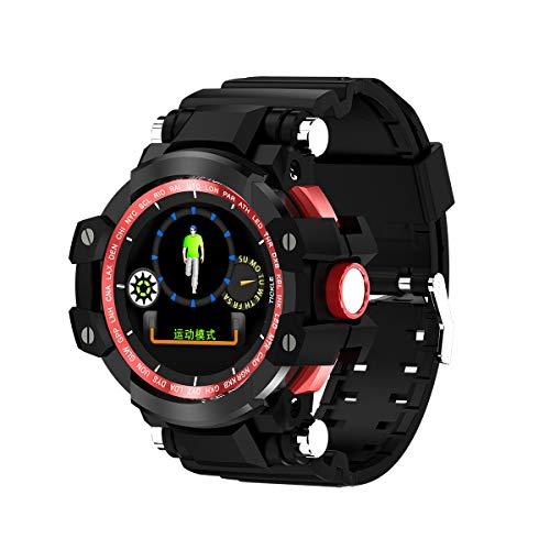 FGFGN Long Standby wasserdicht und Anti-Fall-Uhr, Farbdisplay intelligente Sport-Schritt-Uhr, geeignet für Outdoor-Bergsteigen Camping-red