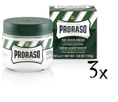 3x PRORASO Pre Shave Cream with Eucalyptus & Menthol 100ml