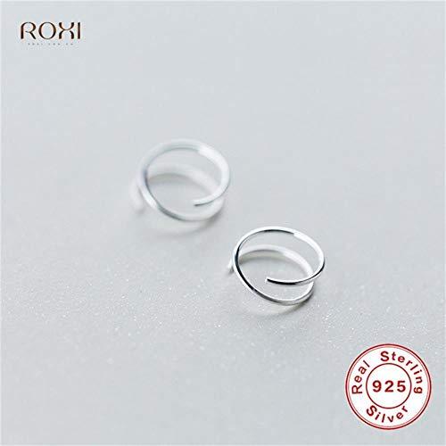 MUATE 925 Sterling Silber Ohrringe für Frauen Twist spirale Ohr Knochen Ohr Schnalle Ring Mini doppel Ring Piercing kleine Ohrringe 6mm (Doppel-spirale-ohrring)