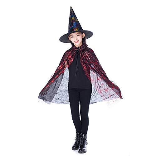 Heaviesk Cape Gold Rot Lila Kinder Happy Halloween Magier Kostüm Set Zauberer Hexe Mantel Cape Robe Und Hut Für Jungen Mädchen - Magier Roben Kostüm