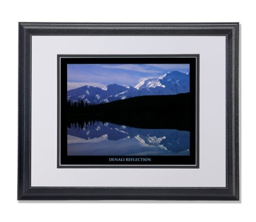 Denali Reflection Mount McKinley Alaska Photo Wall Picture W/B Matted Framed Art Print by Art Prints Incorporated