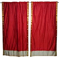 Mogul Interior 2 Indian Sari Curtain Brocade Border Red Window Treatment Drape Panel Home Decor