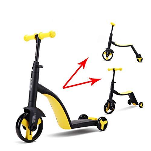 ZNDDB Kinder Laufrad - 3-In-1-Balance Auto Roller Dreirad Für Kinder Im Alter Von 2-6, Lager 25Kg,Yellow