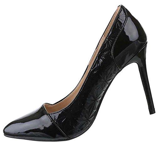 Damen-Schuhe Pumps | Frauen High Heels mit 11 cm Stiletto-Absatz in verschiedenen Farben und Größen | Schuhcity24 | Klassische Abendschuhe mit Muster | in Lacklederoptik Schwarz