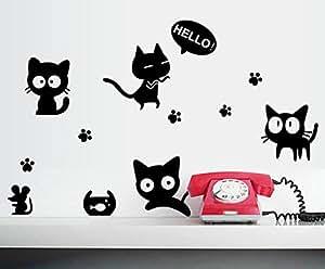 Fai da te Gatti neri e adesivi murali mouse per il computer portatile da letto Soggiorno Frigorifero Tazza di Oggettistica per la casa Adesivi murali decalcomanie removibili
