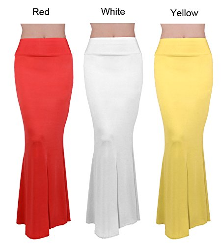 Zeagoo Damen Lange hohe Taille elegant Maxi Rock Solid Kleider Gelb