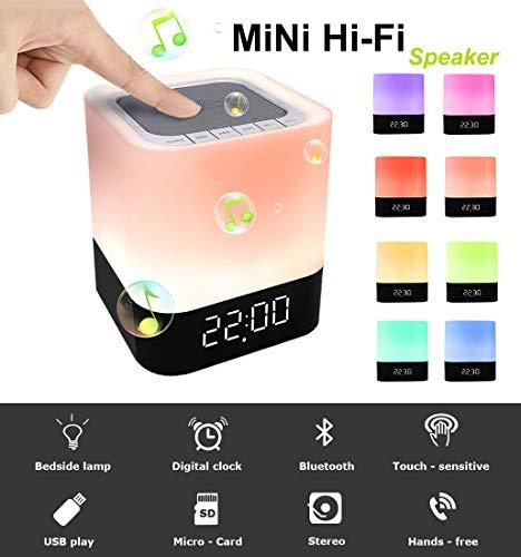 StillCool Lichtwecker mit Touchbedienung, FM-Radiofunktion, Dämmerungssimulation, Snooze-Funktion, 7Farben LED-Licht, 6Naturklängen