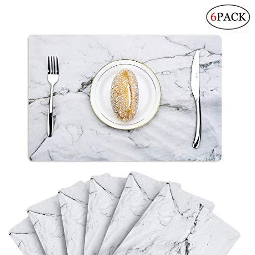 Küche 6pcs PVC Platzset Dinning Room Potholder waschbare Platzsets Rutschfeste wasserfest, wasserdicht, Material-Tisch Matte Set von 6 (the Marble) (Tisch Matten Set 6)