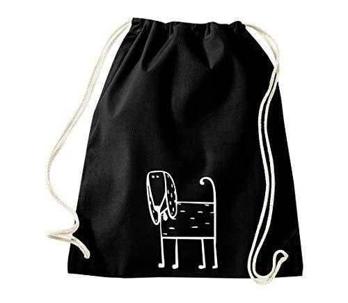 Shirtinstyle Gym Sack Turnbeutel Tiere Tiermotiv Hund Welpe Dog, Farbe Schwarz -