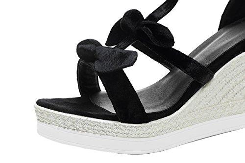 AIYOUMEI Damen Wildleder T-spangen Knöchelriemchen Keilabsatz Sandalen mit Schleife Süß Sommer Schuhe Schwarz