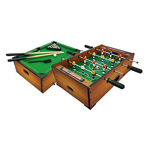 Sport1-2 en 1 - Futbolín Biliardo, Color marrón, 706200406