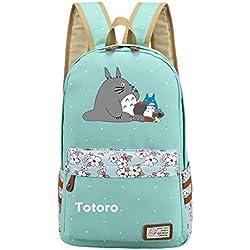 Anime My Neighbor Totoro Sac à dos Cosplay sur toile pour sac à dos d'école Sac à bandoulière (Vert 1)
