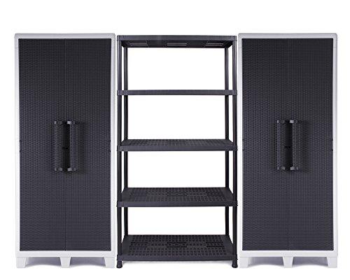 Ondis24 2 x Kunststoffschrank XL Santo mit 4 Böden, abschließbar & Schwerlastregal Steckregal 18 Zoll