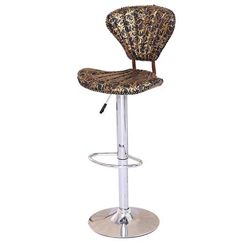Barhocker Barhocker Barhocker Gaslift-Hochstuhl mit Rückenlehne Continental Vintage Lounge-Sessel Esszimmerstuhl Rezeption Stuhl Muster Shell-Hocker mit Fußstütze Verchromter Rahmen Home Barhocker, - Rezeption Shell