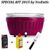 LOTUSGRILL XL Special KIT 2015 by YesEatIs - Lotusgrill XL BARBACOA + 1Kg Carbon Lotusgrill + 1 Gel Lotusgrill + 1 Saptula Grill - PURPURA XL