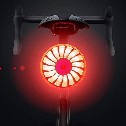 WASAGA Luce Posteriore per Bici, Smart Brake Luce Posteriore per Bici USB Ricaricabile, 5 modalità Luce Zaino Impermeabile Zaino Lampada LED Avviso di Sicurezza Luce stroboscopica (Rosso & Nero)