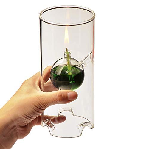 UGUAX Nachfüllbare Öllampe Transcend Klarglas ohne Duft, Stumpenkerze, langlebig, einzigartiges Geschenk, Glas, M:22 * 8CM (Glaszylinder Für öllampe)