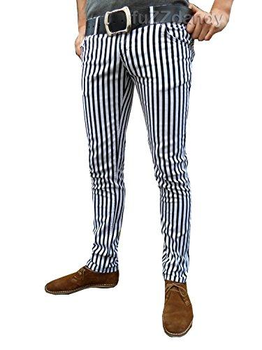 Fuzzdandy drainpipes Trousers White Black Pin Stripe Pants Striped MOD Punk Indie Skinny