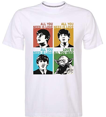 Love is All You Need T-Shirt Beatles Yoda Combo Funny Inspired Design Men's Tee - Beatles Short Sleeve T-shirt