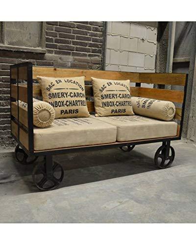 Ambiente and more Couch Sofa Stahl und Holz Vintage Industrie Industriestil Sitzmöbel -