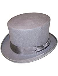 Size Medium Grey 100% Wool Hand Made 5 1/2 Tall Felt Top Hat