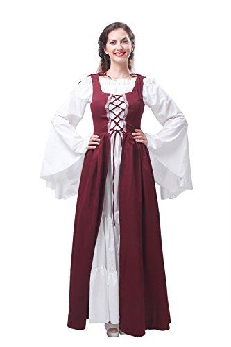 Nuoqi Damen Mittelalter Keid Retro Langarm Bier bar Kellnerin serviert Magd Traditionelle Kostüme Langes Kleider (Renaissance Festival Kleider)