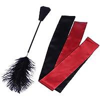 LUOEM 2 en 1 exquisita pluma de avestruz tictac y coquetear azote de cuero azotando a mano con satén con los ojos vendados máscara para los hombres mujeres