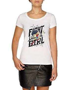 Jergley Fight Like A Girl Camiseta Blanco Mujer | Women's White T-Shirt