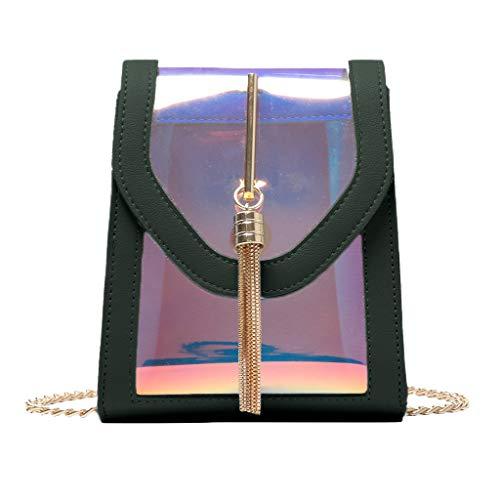 Zegeey Sac Messenger Mini Bandoulière Femme Cabas Sac Fourre-Tout Transparent avec bandoulière ajustable sac a main holographique brillant avec des chaines sac a main Chic pour faire du shopping