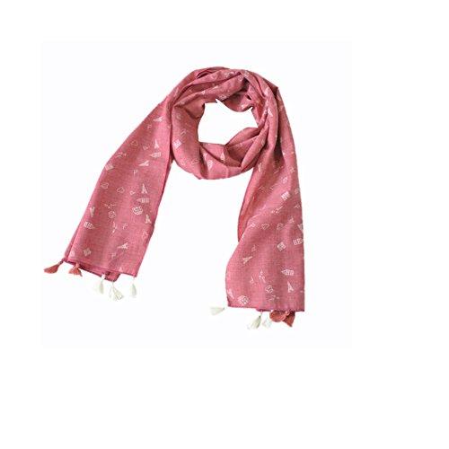 Ouneed® Baby Schals Halstücher, Kinder Herbst und Winter Mode Baumwolle Schals Turm Graphics (140*40cm, Rot) (Schal Graphic)