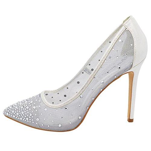London Footwear ,  Damen Durchgängies Plateau Sandalen mit Keilabsatz Silber