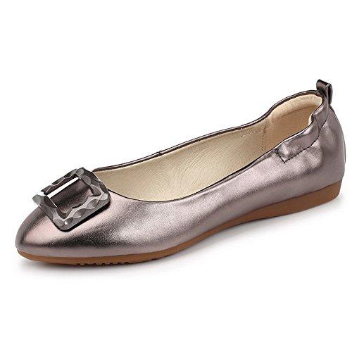 AgooLar Femme Couleur Unie Pu Cuir Non Talon Rond Tire Chaussures à Plat Gris