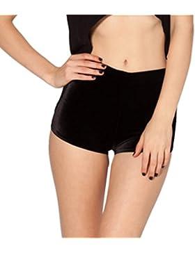 Moresave Donna velluto schiacciato a vita alta con coulisse Shorts casuale che porta Yoga Sport Indossare