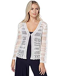 79a6920884 Roman Originals Women Long Sleeve Open Crochet Lace Cardigan Shrug - Ladies  Short Knitted Shrugs and