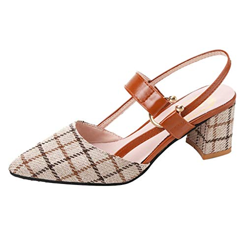 Womens Slingback Block Chunky Heels geschlossene Zehe Gericht Schuhe Mitte Heels Spitze Zehe Plaid Print Mode Slip-On Sandalen Heels für Damen T-strap Womens Chunky Heels