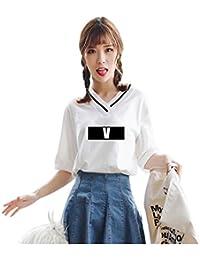BTS Bangtan kurzärmelig Tshirt V Kragen Mädchen weiß shirt