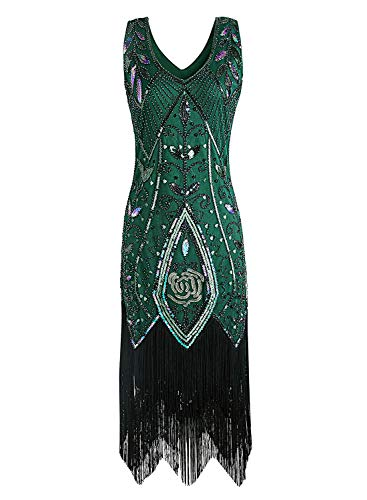 JaosWish Damen 1920er Gatsby Kleid Flapper Retro 20er Jahre Charleston Kleider Kostüm Party
