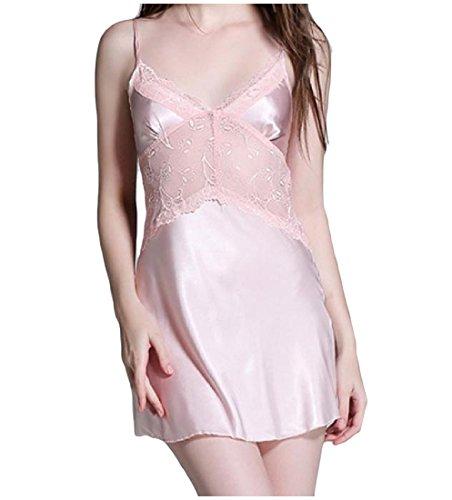 ANDYOU-Women Damen v-ausschnitt, pajama pure color lace charmeuse schlafen kleid L 1 -