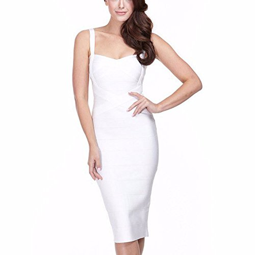 HLBandage Women's Spaghetti Strap Midi Rayon Bandage Dress Blanc