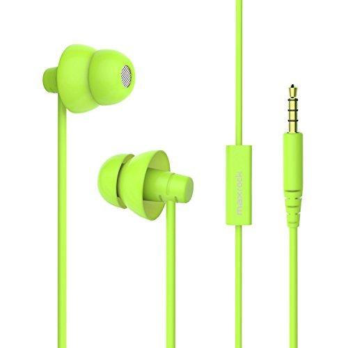 MAXROCK Ecouteurs Intra-auriculaires Stéréo avec Micro Integré,Ecouteurs pour iphone6 Ecouteur Anti Bruit,Casque de Réduction du Bruit, Ecouteur de son haute qualité, Ecouteur Dormir,Ecouteurs pour Sommeil,Oreillettes de 3.5mm Jack pour Iphone 6,Huawei,Samsung,Tablette, PC,Ipad,Ipod(Vert)
